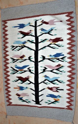"""GREAT PICTORAL BIRD TREE OF LIFE DESIGN RUG 26"""" X 43""""  - GORGEOUS"""