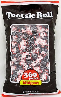 Tootsie Roll Midgees Chewy Candy (360 Count Bag) Chocolate Bulk Rolls 2.42 LBS - Chewy Candy