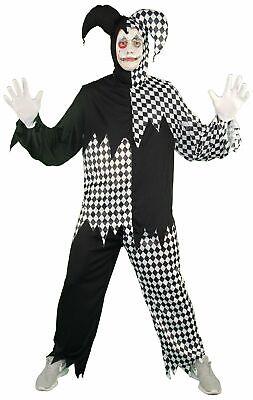 Horror Clown Harlekin Hofnarr schwarz weiß Kostüm für Herren Halloween Gr. M-XXL