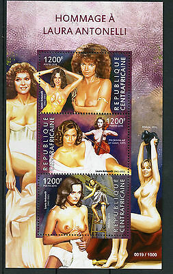 Central African Rep 2015 MNH Laura Antonelli Tribute 3v MS Art Nude Model Stamps