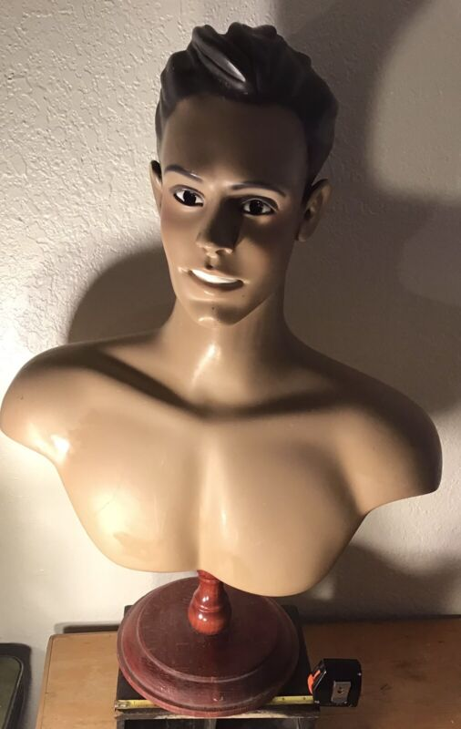 Antique Vintage Mannequin Head Shoulders Store  Counter Display Male Decor Art