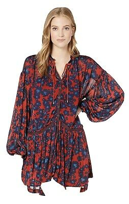Free People Boho Hippie Floral Love Letter Tunicl Top/Dress Large NWT