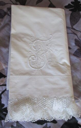 Antique Linen King Size Lay Over Sham Italian JB Monogram Exquisite Crochet Trim