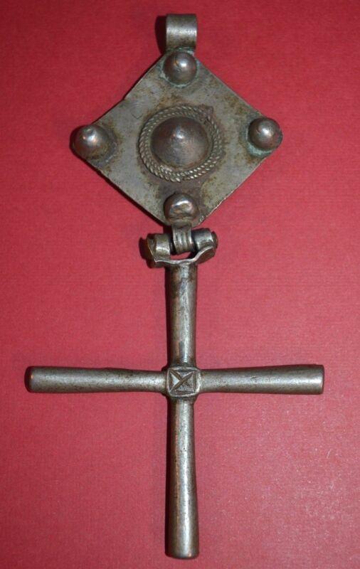 HUGE! Antique Ethiopian Coptic Christian Silver Cross Pendant Ethiopia, Africa