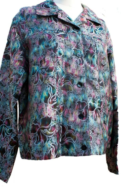 Chico's 2 lgt weight jacket Multicolor embossed silver overlay pattern 34% silk
