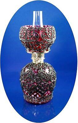 RARE Antique Cranberry Opales. Snowflake Mini Oil Lamp, w/ Metal Filigree S1-474 (Filigree Mini Lamp)