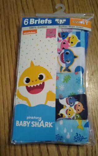 New Toddler Boys size 4T Baby Shark Briefs 6 Pack 100% Cotton Underwear