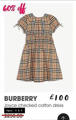 Girls burberry Checked Designer Dress BNWT Age 6