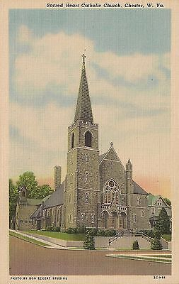 Sacred Heart Catholic Church Chester WV Postcard