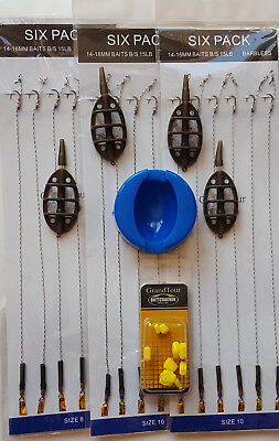 INLINE METHOD FEEDER AND MOULD SET FOR CARP FISHING + 18 Hair Rigs + Fake Corns