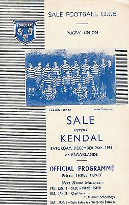 Sale v Kendal 26 Dec 1953 RUGBY PROGRAMME