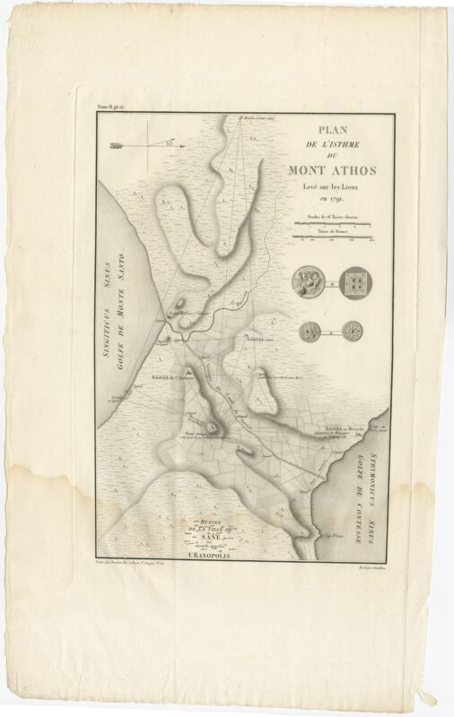 Antique Map of the isthmus of Mount Athos by Choiseul-Gouffier (1809)