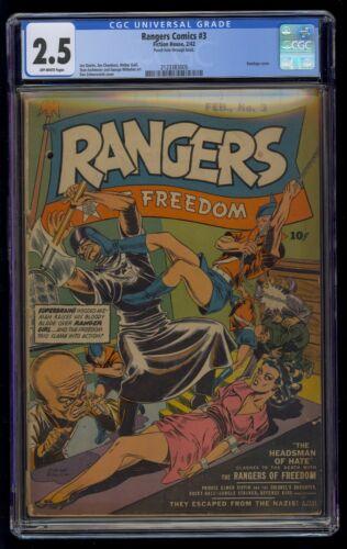 Rangers Comics (1941) #3 CGC 2.5 Blue Label Off-White Pages GGA Bondage Cover