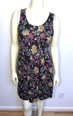 99¢ Auction! Forever 21 Floral Black Pink Yellow Tank Dress Skater Size Medium