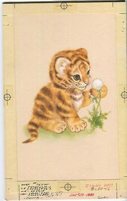 VINTAGE BENGAL TIGER CAT CUB DANDELION FLOWER SEEDS WISH ORIGINAL W/C PAINTING