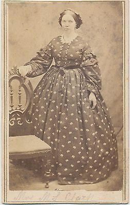 1860s Antique Vtg. CDV Photo Lady Wearing Stunning Victorian Fashion Hoop Dress