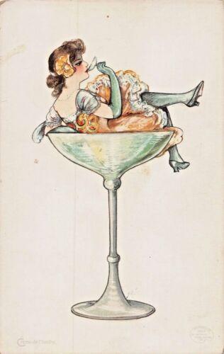 ALCOHOL DRINKS SERIES~CREME de MENTHE-SAMUEL SCHMUCKER ARTIST FANTASY POSTCARD
