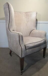 RALPH LAUREN WING BACK CHAIR WITH BONUS OTTOMAN, HOUNDSTOOTH, HENREDON