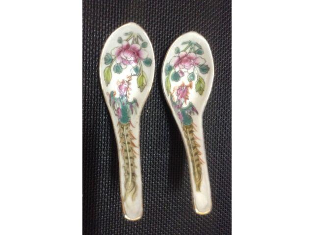 Straits Chinese Peranakan White Ground Phoenix & Peony Spoon x 2pcs