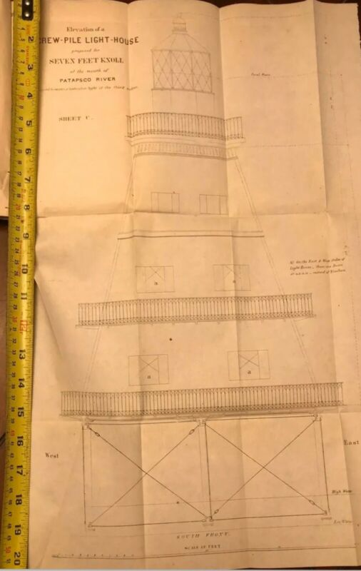 Screwpile Light House Patapsco River Blueprint Drawings Circa 1850 Rare Antiques