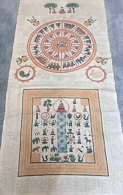 Huge Antique Burmese Buddhist Temple Painting Of The  Enlightenment Of Buddha