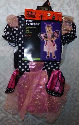 Butterfly Costume 4t (Pink Butterfly Halloween Costume Girls New 2T 4T Fairy Fancy Toddler Infant)