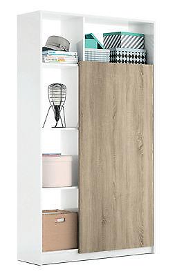 Mueble recibidor de 5 estantes color blanco brillo y puerta cambrian de...