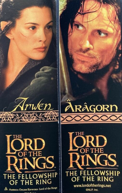 Promo Lord of the Rings Arwen Aragorn 2sided bookmark The Fellowship of the Ring