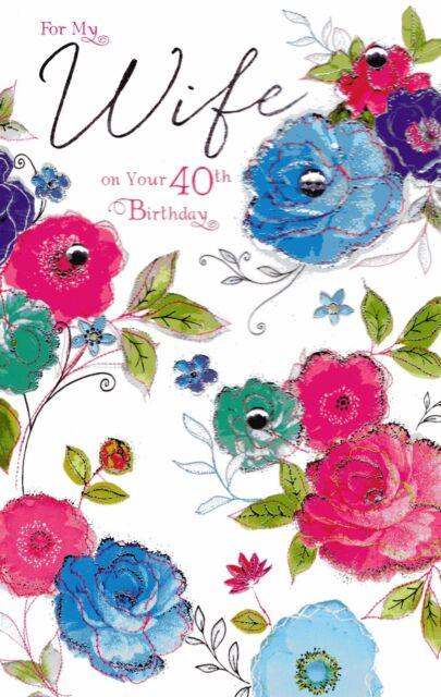 Wife Age 40th Diamante Embossed Roses White Diamonds 40 Birthday