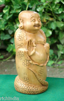 Happy Man laughing Buddha statue art Craft Good luck handmade gift decor India