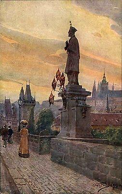 Prag Praha Tschechien Česká republika ~1910 Karlsbrücke Karlův most Socha Statue