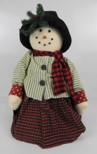 "Plush Weighted Fabric 17"" Snowman Winter Christmas Holiday Home Decor"