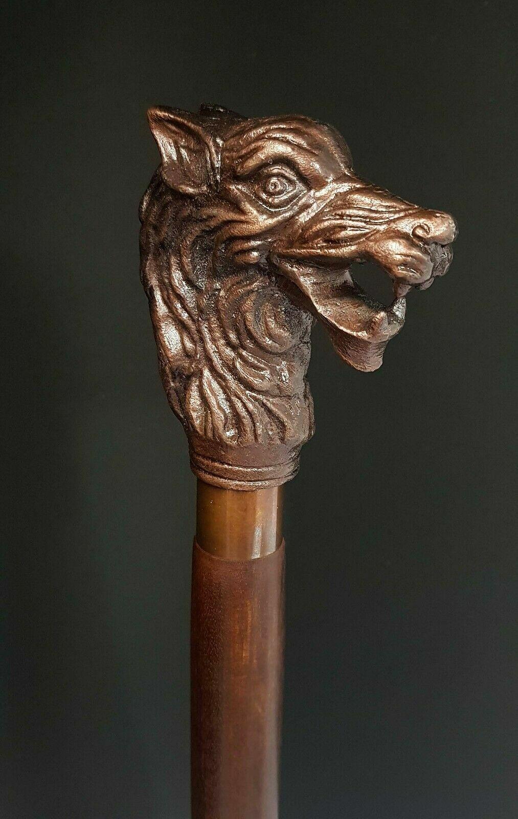 Antique Walking Stick Brass Lion Head Cane Walker cane Vintage Gift handmade