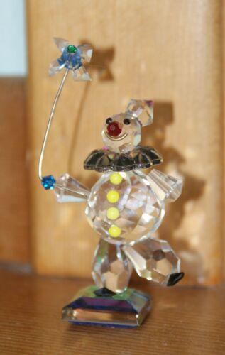 CRYSTALLITE CRYSTAL GLASS FIGURINE CLOWN w/PINWHEELon DICHROIC BASE CI2040 rz