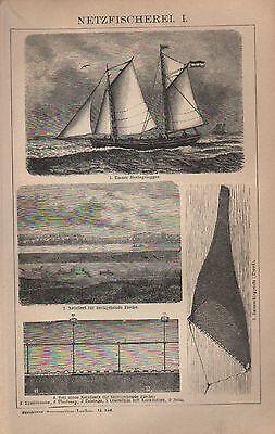 Lithografien 1902: NETZFISCHEREI. I/II. Fischer Schiffe Meer Ozean Netz Fisch