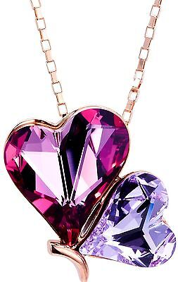 Leafael Swarovski Crystal Double Heart Pink Purple Pendant Necklace, Rose Gold ()