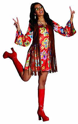 Kostüm Retro Hippie Kleid mit Weste Hippiekleid Gr. 36-48 Schlagerparty Karneval