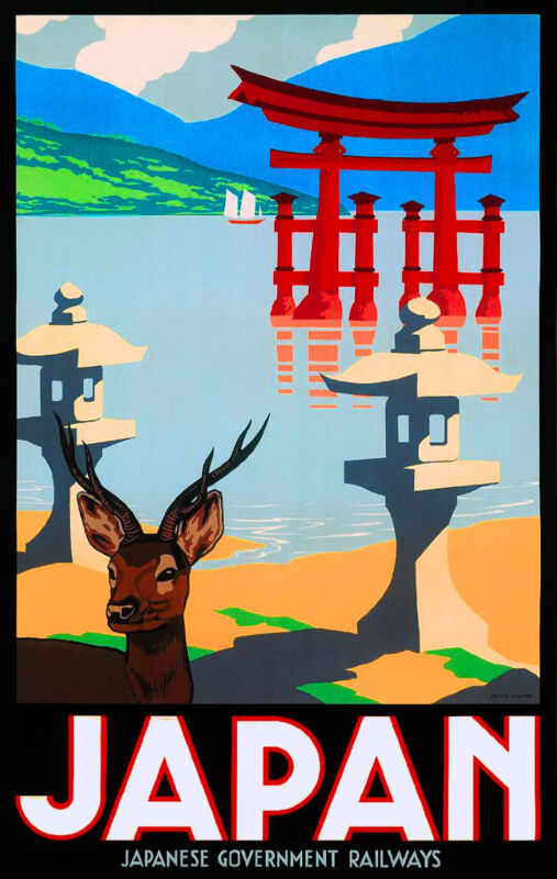 Japan Japanese Government Railways Asia Vintage Travel Advertisement Art Poster