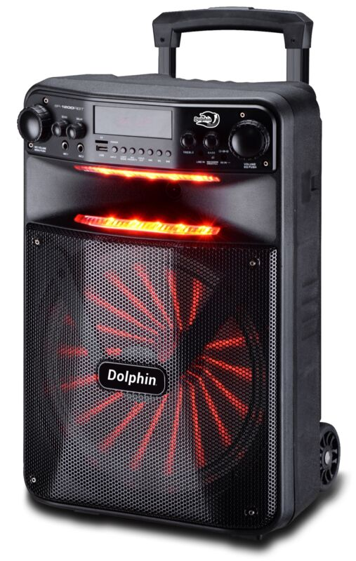 "Dolphin 2500W Rechargeable 12"" Portable Bluetooth Speaker with LED"