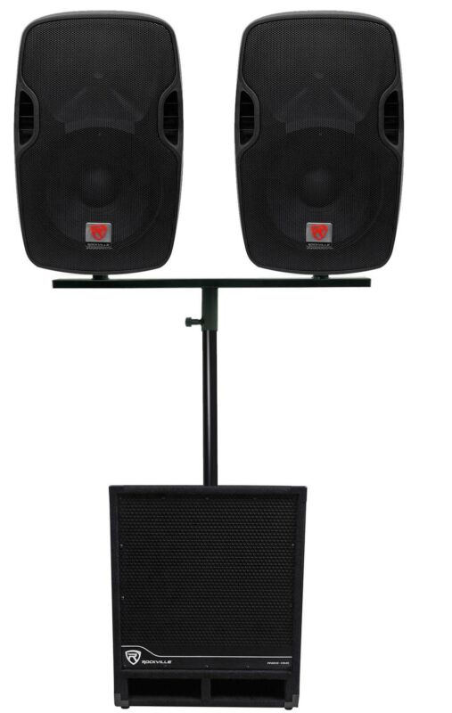 """Rockville DJ Package w/ (2) 12"""" Active Speakers+Dual Mount+15"""" Powered Subwoofer"""