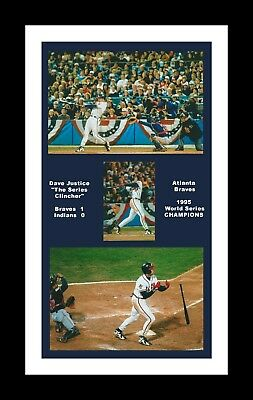 Atlanta Braves Mat - ATLANTA BRAVES MATTED PHOTO OF DAVE JUSTICE 1995 WORLD SERIES WINNING HOME RUN