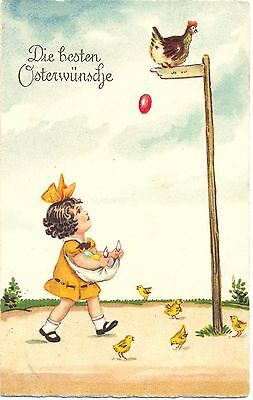 Ostern, Mädchen fängt Eier, Küken, Huhn, 1926 ()