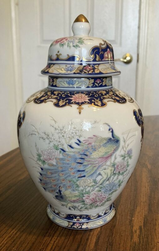 Rare Beautiful Toyo Japanese Urn in Blues with Peacocks & Pastel Flowers&Gilding