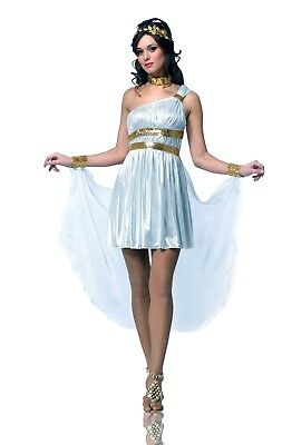 Greek Roman Goddess Queen Costume White Toga Dress Gown Fancy Venus Sparta](Roman Goddess)