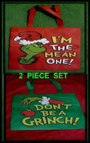 DR SEUSS~THE GRINCH~2 PIECE SET~HOLIDAY TOTE BAGS~MAKES A GREAT GIFT~L@@K~NEW