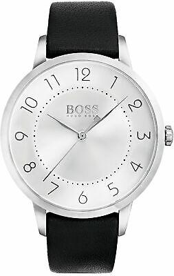 Hugo BOSS 1502408 Damen Armbanduhr Quarz Analog Leder schwarz weiß ohne Zubehör