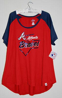 NWT Majestic MLB Women's Plus Red & Blue Atlanta Braves SS T-Shirt sz 1X 3X Braves Mlb T-shirt
