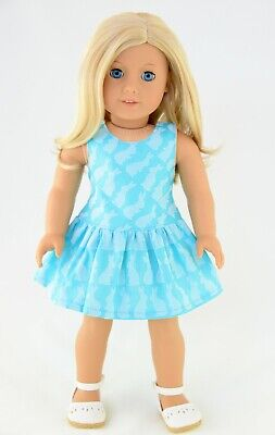 Summer Dress Blue With Bunny For American Made Doll Clothes1