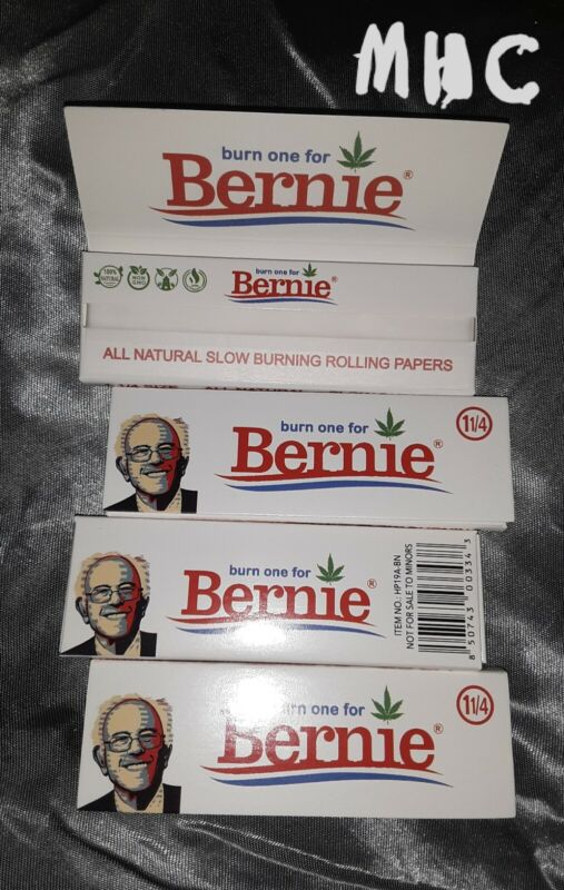 4 Books! !BURN ONE FOR BERNIE! 1.25 (1-1/4) Rolling Papers!   (MHC)