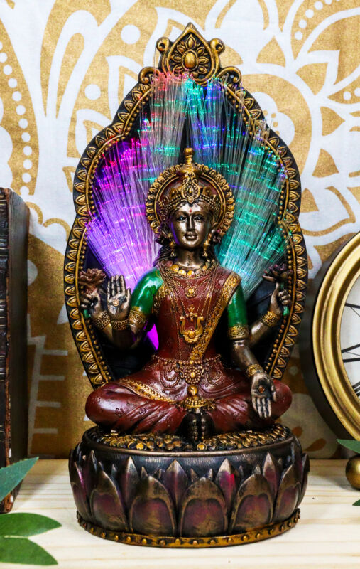 Ebros Vastu Hindu Goddess Lakshmi On Throne Colorful Fiber Optics Light Figurine